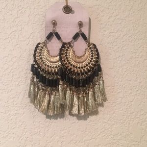Anthropologie gold tassel earrings